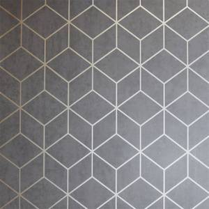 Arthouse Box Geometric Smooth Metallic Charcoal and Copper Wallpaper