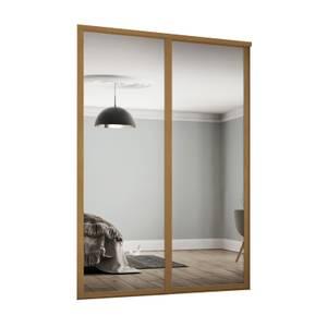 Shaker 2 Door Sliding Wardrobe Kit Mirror with Oak Frame (W)1449 x (H)2260mm