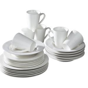 White Embossed Linear 24 Piece Dinner Set