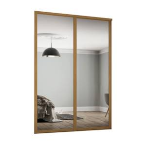 Shaker 2 Door Sliding Wardrobe Kit Mirror with Oak Frame (W)1753 x (H)2260mm