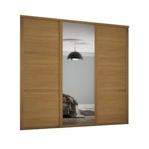 Shaker 3 Door Sliding Wardrobe Kit Oak Panel / Mirror with Oak Frame (W)2592 x (H)2260mm