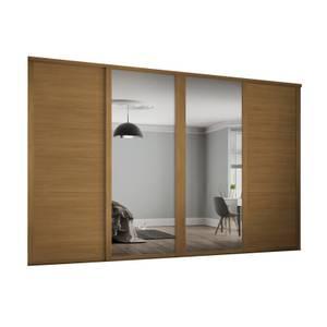 Shaker 4 Door Sliding Wardrobe Kit Oak Panel / Mirror with Oak Frame (W)2898 x (H)2260mm