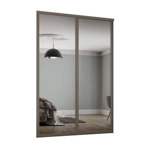 Shaker 2 Door Sliding Wardrobe Kit Mirror with Stone Grey Frame (W)1449 x (H)2260mm