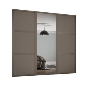 Shaker 3 Door Sliding Wardrobe Kit Stone Grey Panel / Mirror with Stone Grey Frame (W)1680 x (H)2260mm