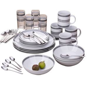 Bistro Stripe Combo 36 Piece Dinner Set - Grey
