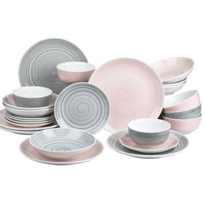 Spin Wash 24 Piece Dinner Set - Pink & Grey