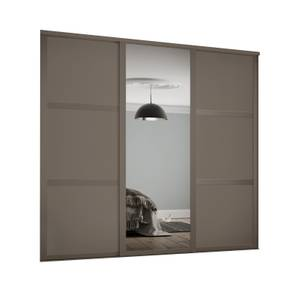 Shaker 3 Door Sliding Wardrobe Kit Stone Grey Panel / Mirror with Stone Grey Frame (W)2136 x (H)2260mm