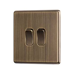 Arlec Fusion 10A 2Gang 2Way Antique Brass Double light switch