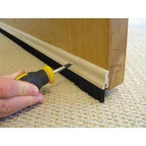 Stormguard Brush Bottom Door Strip Draught Excluder - Wood 838mm