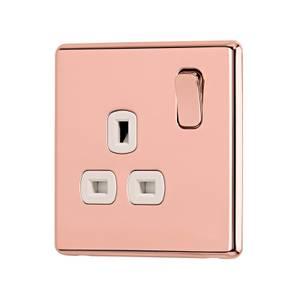 Arlec Fusion 13A 1 Gang Rose Gold Single switched socket
