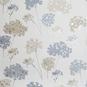 Arthouse Anya Floral Smooth Metallic Blue Wallpaper