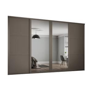 Shaker 4 Door Sliding Wardrobe Kit Stone Grey Panel / Mirror with Stone Grey Frame (W)3506 x (H)2260mm