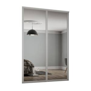 Shaker 2 Door Sliding Wardrobe Kit Mirror With Cashmere Frame (W)1145 x (H)2260mm