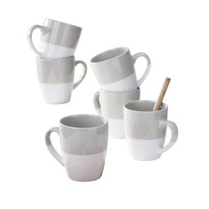 Grey White Dipped Glaze Mugs - 6 Piece Set