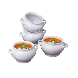 Set of 4 Deep Soup Bowls with 2 Handles - White