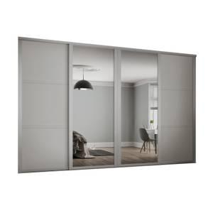Shaker 4 Door Sliding Wardrobe Kit Cashmere Panel / Mirror (W)3506 x (H)2260mm