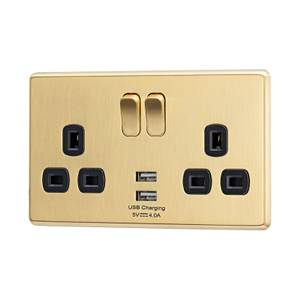 Arlec Fusion 13A 2 Gang Gold Double switched socket with 2x4A USB