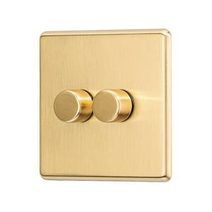 Arlec Fusion 2 Gang 2 Way Gold Dimmer switch