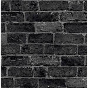 Fresco House Brick Black Wallpaper