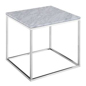 Signet Lamp Table - White Marble & Nickel