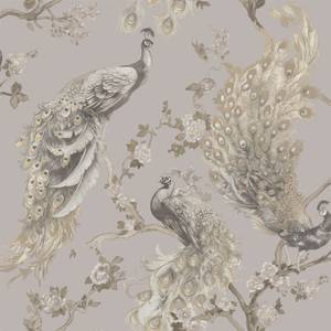 Holden Decor Menali Peacock Floral Textured Glitter Grey Wallpaper
