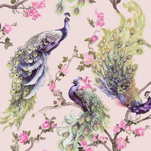Holden Decor Menali Peacock Floral Textured Glitter Pink Wallpaper