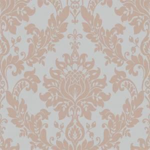 Holden Decor Clara Damask Embossed Metallic Rose Gold and Grey Wallpaper