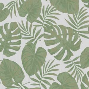 Holden Decor Riviera Leaf Textured Metallic Grey and Green Wallpaper