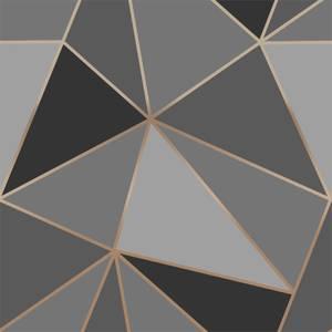 Fresco Apex Geo Charcoal & Rose Gold Wallpaper