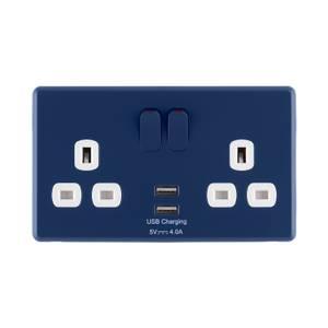Arlec Rocker Galaxy Blue Double USB Socket 2 x 4A USB