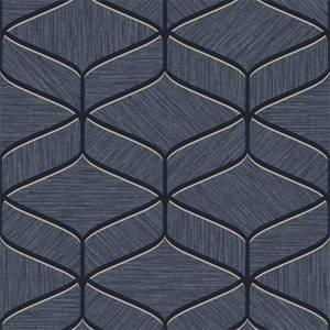 Belgravia Decor Luciano Geometric Embossed Metallic Navy Wallpaper