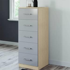 Modular Bedroom Slab 5 Drawer Chest - Grey