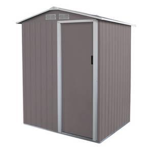 Charles Bentley 4.9ft x 4.3ft Warm Grey Metal Storage Shed