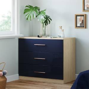 Modular Bedroom Slab 3 Drawer Chest - Navy Blue
