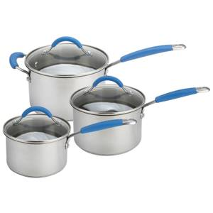 Joe Wicks Quick and Even Induction Non-Stick Stainless Steel Saucepans - Set of 3