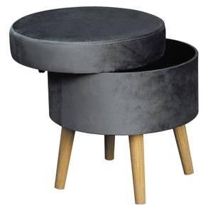 Round Storage Stool Velvet - Grey