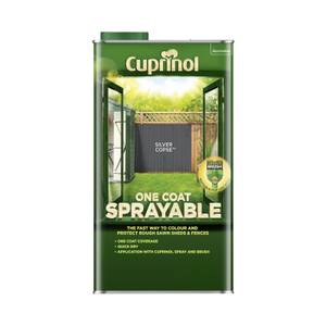 Cuprinol One Coat Sprayable Shed & Fence Paint - Silver Copse - 5L