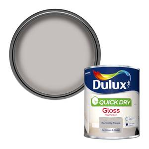 Dulux Quick Dry Gloss Paint - Perfectly Taupe - 750ml