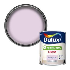 Dulux Quick Dry Gloss Paint - Pretty Pink - 750ml