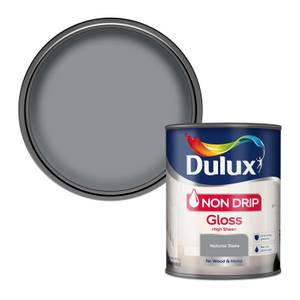 Dulux Non Drip Gloss Paint - Natural Slate - 750ml