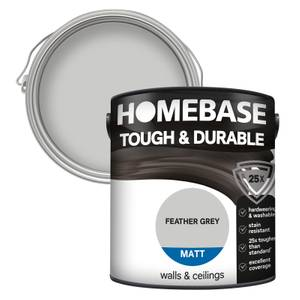 Homebase Tough & Durable Matt Paint - Feather Grey 2.5L
