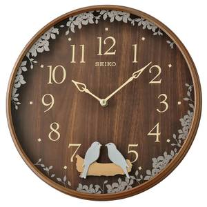 Seiko Bird Pendulum Wall Clock with Wood Effect Case