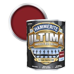 Hammerite Ultima Smooth Metal Paint - Ruby Red - 750ml