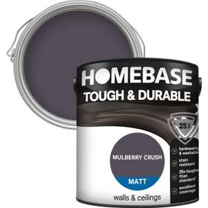 Homebase Tough & Durable Matt Paint - Mulberry Crush 2.5L