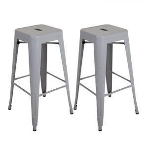 Pair of Metal Bar Stools - Light Grey
