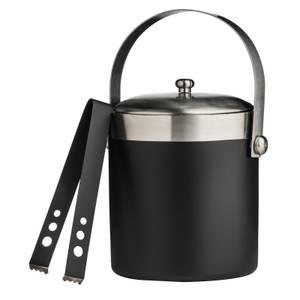 Ice Bucket with Tongs - Black Enamel