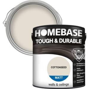 Homebase Tough & Durable Matt Paint - Cottonseed 2.5L
