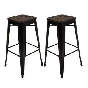 Pair of Metal & Wood Bar Stools - Black