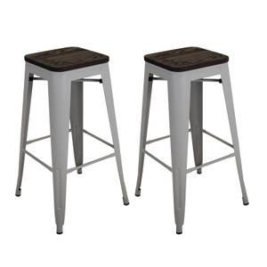 Pair of Metal & Wood Bar Stools - Grey