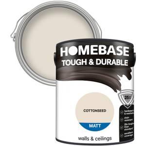 Homebase Tough & Durable Matt Paint - Cottonseed 5L